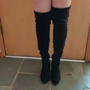Like new thigh high black suede heels